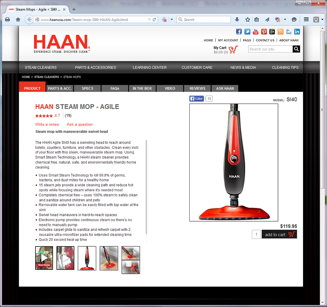 HAAN Steam Mop